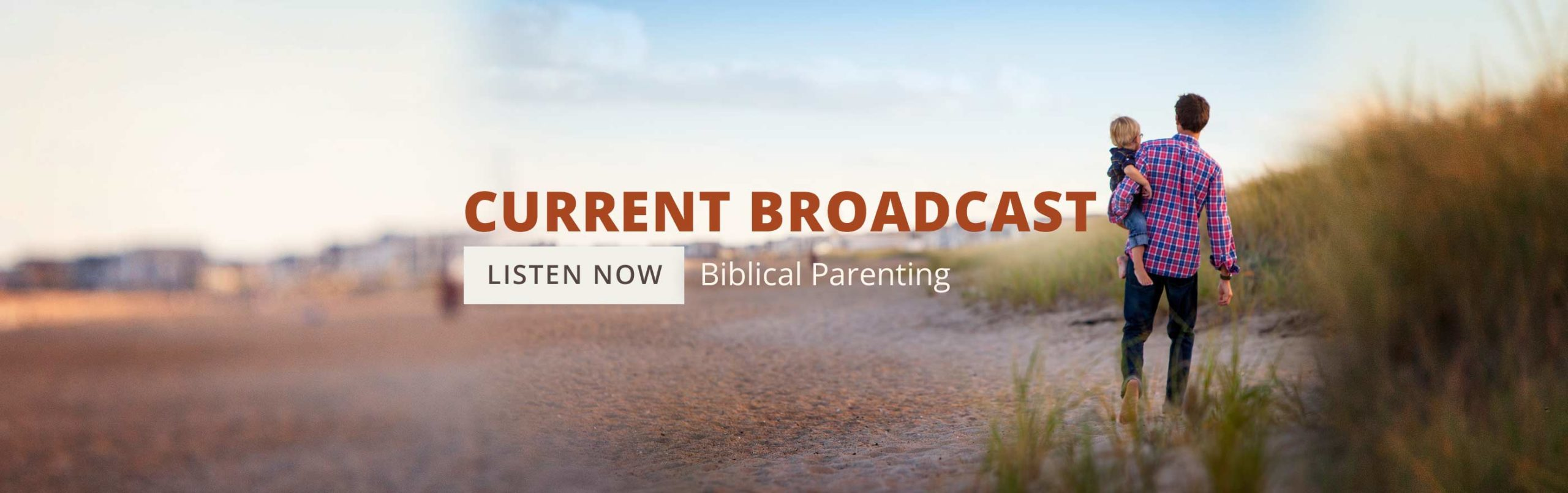 image of father holding child on beach for Biblical Parenting series