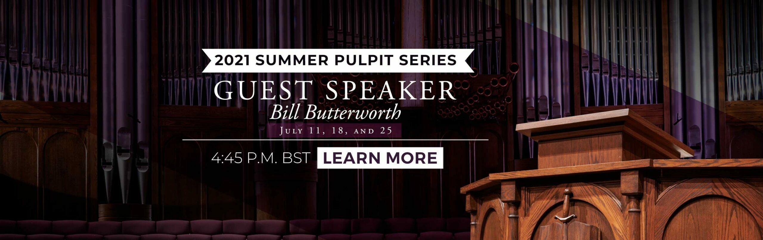 Guest Speaker: Rev. Bill Butterworth